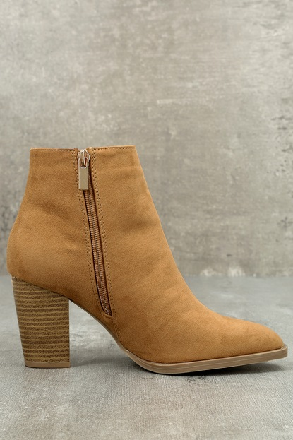Annelise Camel Suede Ankle Booties