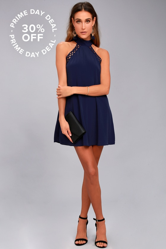 ANY SWAY, SHAPE, OR FORM NAVY BLUE LACE HALTER DRESS LULUS