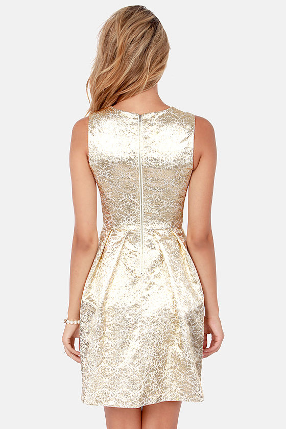 Gorgeous Gold Dress Brocade Dress Fit And Flare Dress