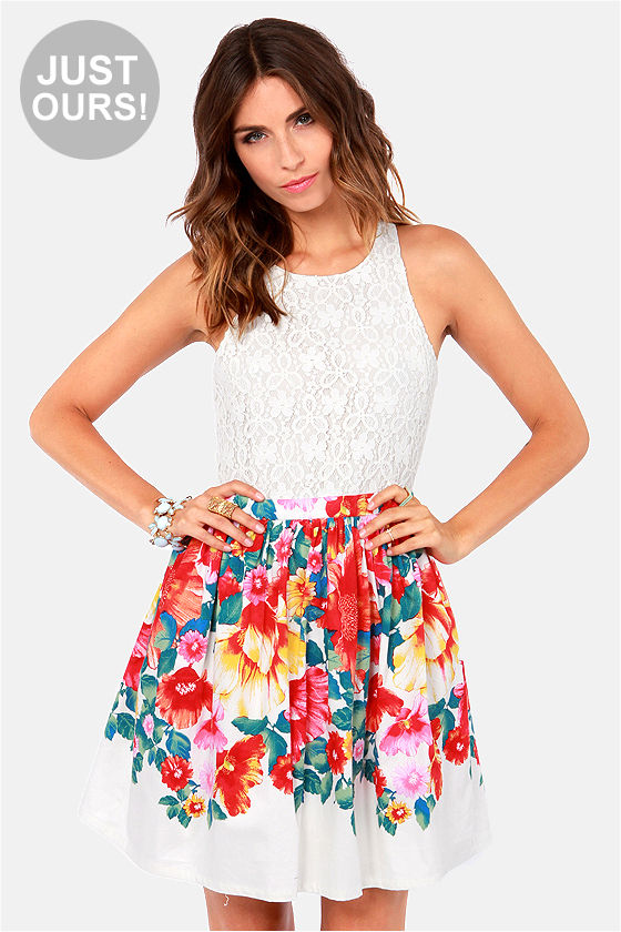 Cute Floral Print Dress - Ivory Dress - Lace Dress - $49.00