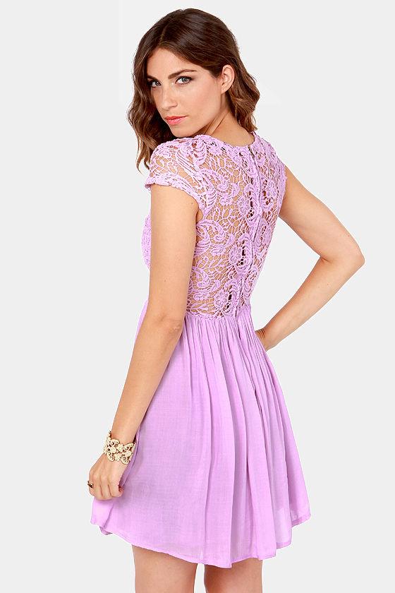 Pretty Lavender Dress Lace Dress Skater Dress 7900