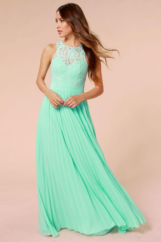 Pretty Mint Green Dress Lace Dress Maxi Dress 16600