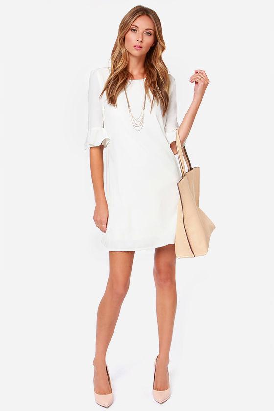 Ivory Dress Shift Dress Short Sleeve Dress Lulus