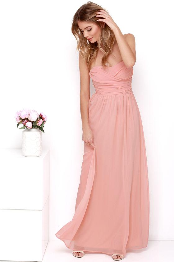 Peach Maxi Dress - Strapless Dress - Maxi Dress - $68.00