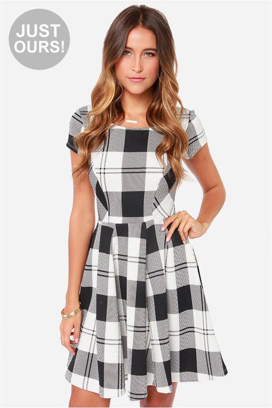 cute skater dress plaid dress black and white dress 49 00