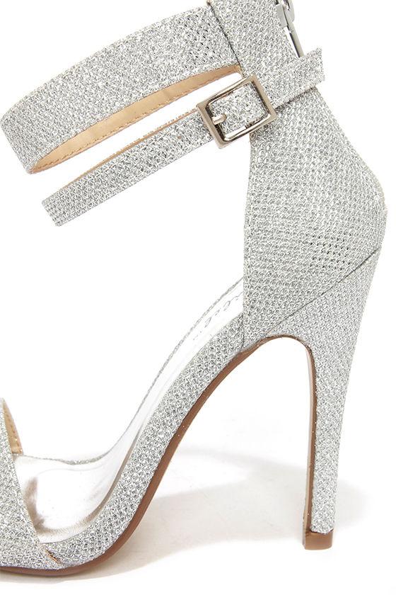 Pretty Glitter Heels - Silver Heels - Ankle Strap Heels ...