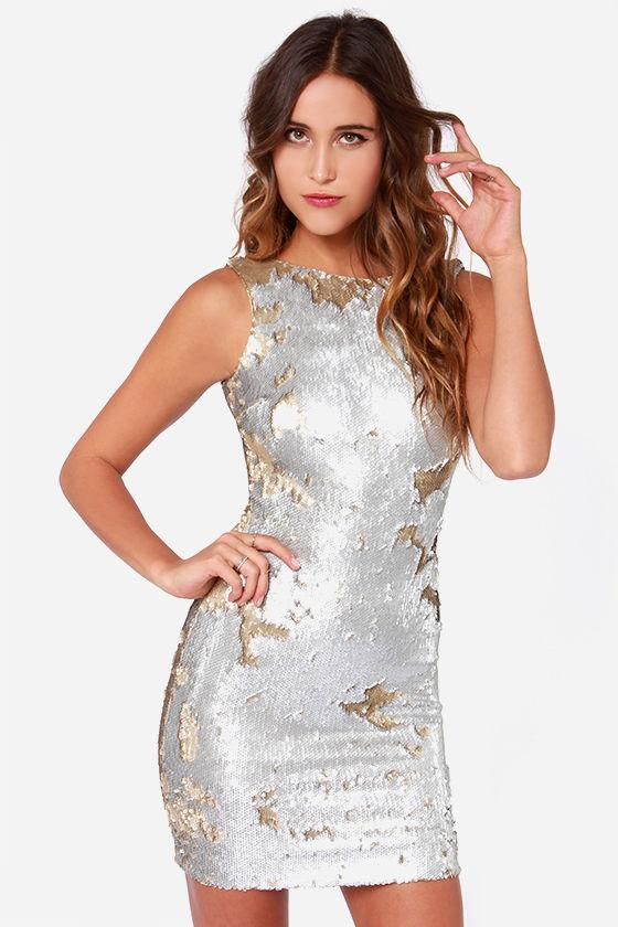 Dress The Population Kim Dress Silver Dress Sequin Dress 17100