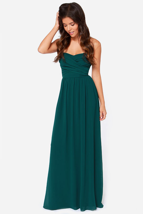 Hunter Green Maxi Dress - Strapless Dress - Maxi Dress - $68.00