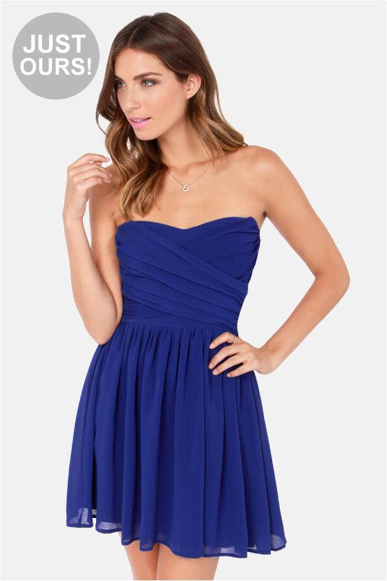 Lovely Strapless Dress Royal Blue Dress Party Dress 4900