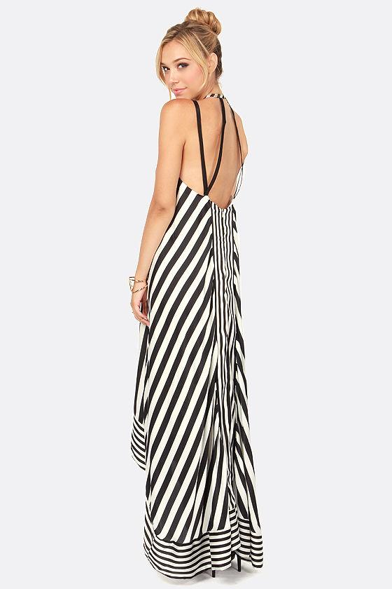 Cute Striped Dress - Maxi Dress - High-Low Dress - $108.00