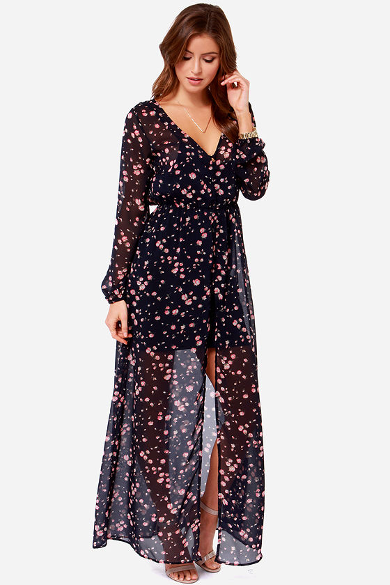 Volcom Lets Elope Dress Navy Blue Dress Maxi Dress Floral