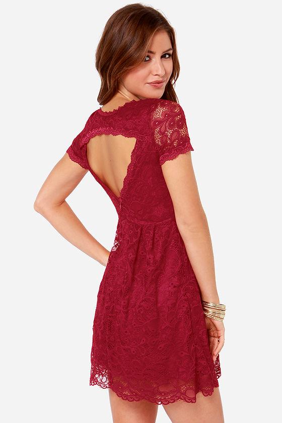 Pretty Wine Red Dress Lace Dress Short Sleeve Dress 4200