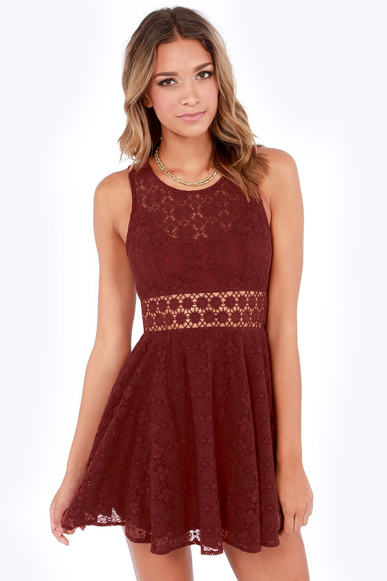 Cute Burgundy Dress Lace Dress Cutout Dress Skater Dress 5100