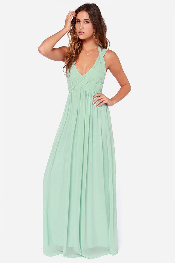 Maxi Dress - Backless Dress - Mint Green Dress - Sage Green Dress ...