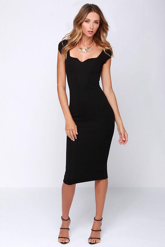 Chic Black Dress Midi Dress Bodycon Dress 6400