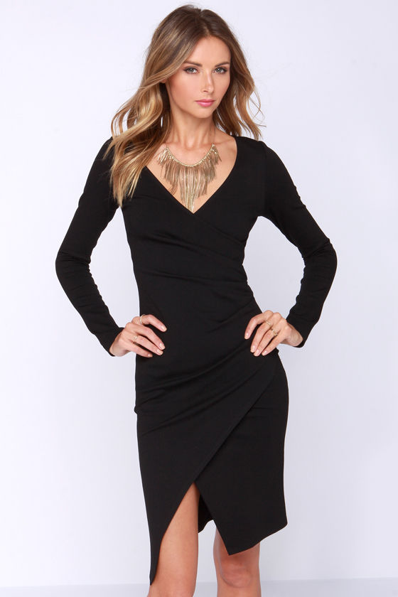 Chic Black Dress Long Sleeve Dress Bodycon Dress Midi Dress