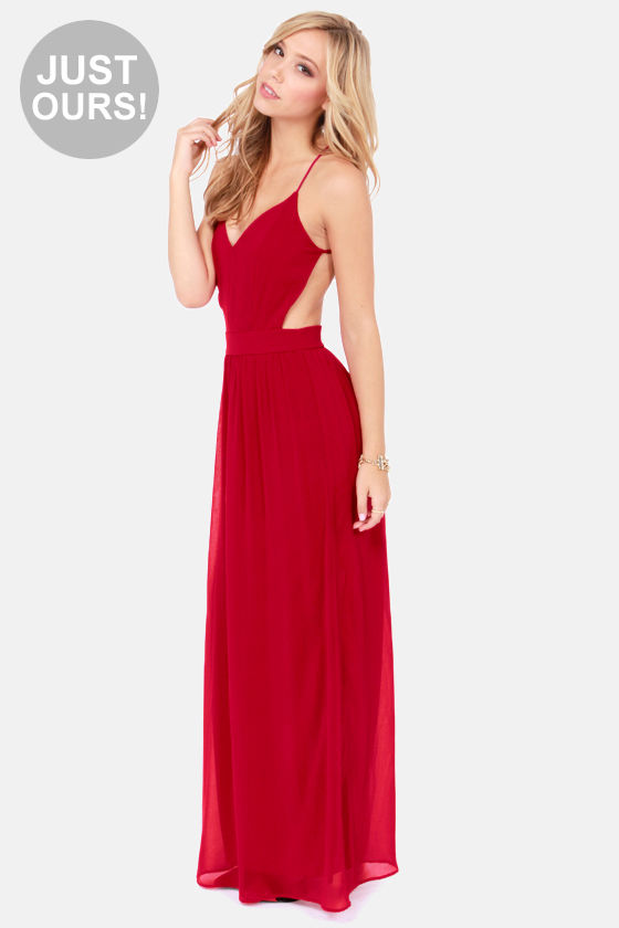 Sexy red maxi dress