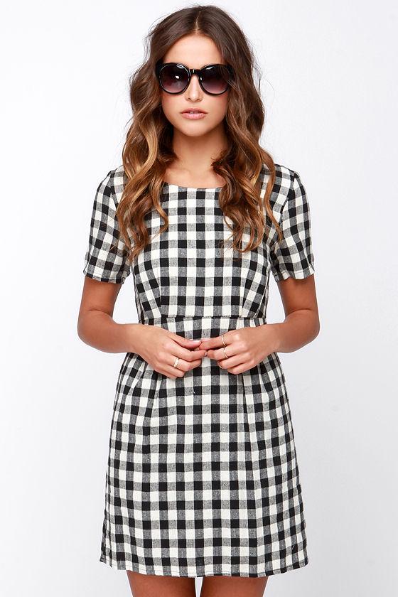 cute black and ivory dress plaid dress checkered dress 49 00