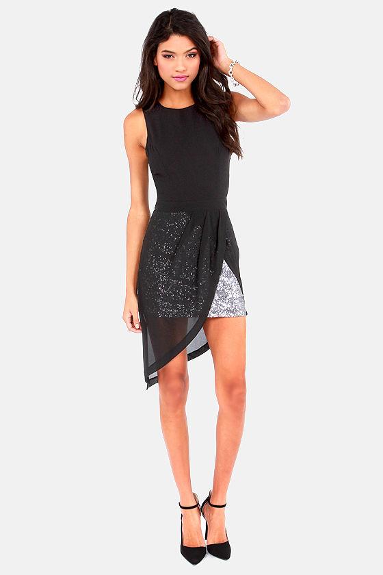 Cute Black Dress Sequin Dress High Low Dress 5700