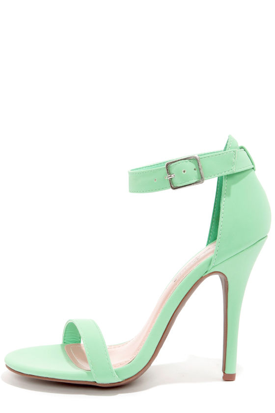 Cute Mint Green Shoes - Single Strap Heels - Ankle Strap Heels - $26.00
