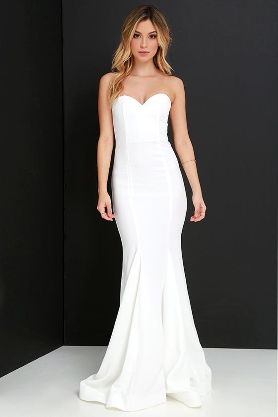 Chic Ivory Dress - Strapless Dress - Maxi Dress - Mermaid Dress ...