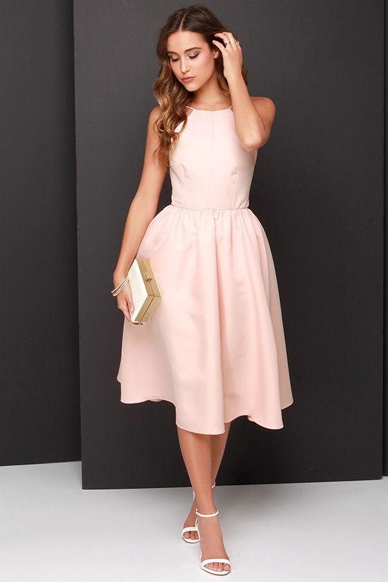 Pretty Peach Dress Midi Dress Backless Dress 5800