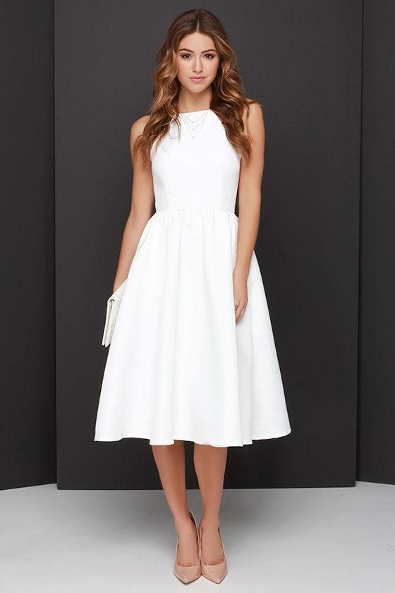 Pretty Ivory Dress Midi Dress Backless Dress 5800