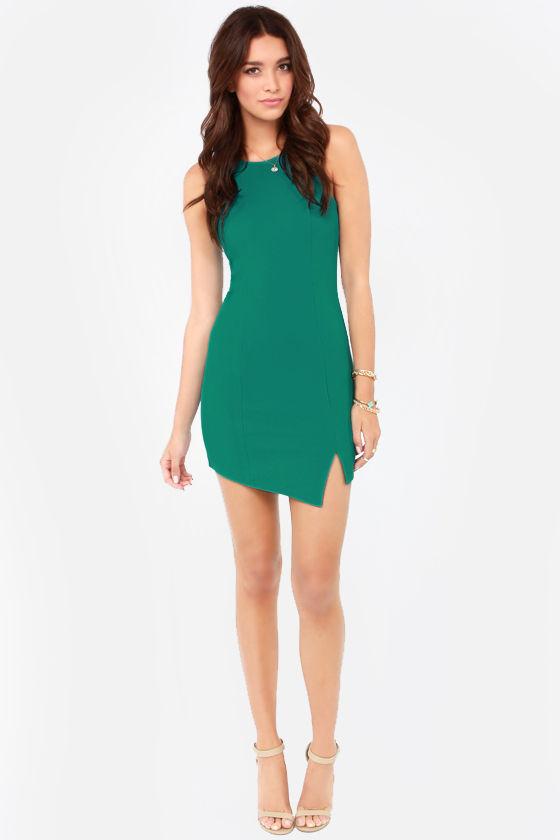 Huntingbird Side Step - Teal Dress - Bodycon Dress - $63.00