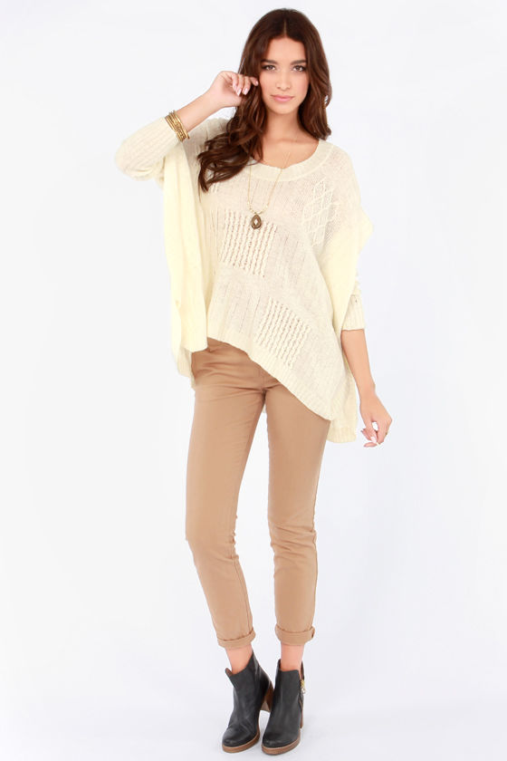 Cute Cream Sweater Oversized Sweater Cable Knit Sweater Cable