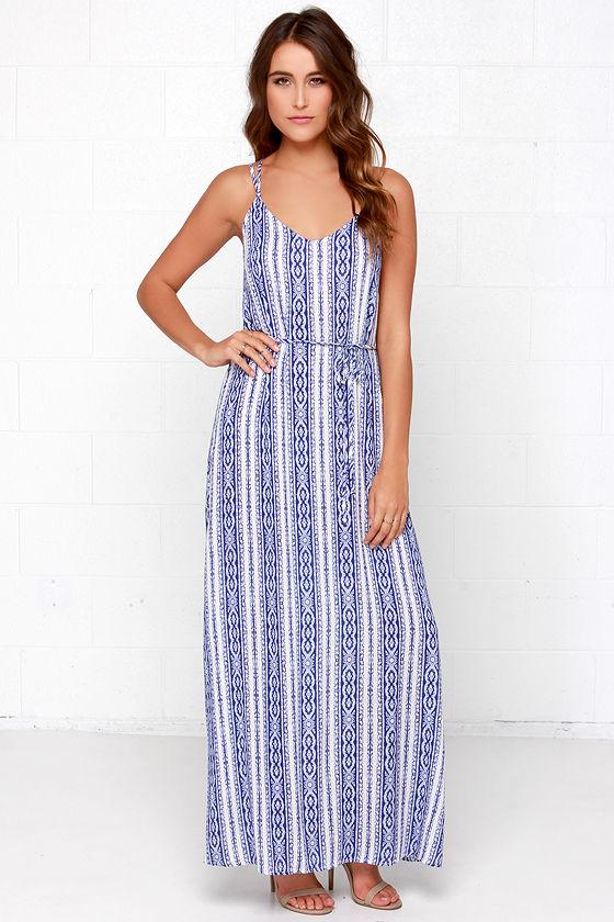 Pretty Cream and Blue Dress - Print Dress - Maxi Dress - $54.00