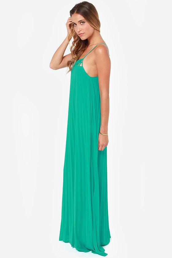 Cute Teal Dress - Maxi Dress - Pleated Dress - $54.00
