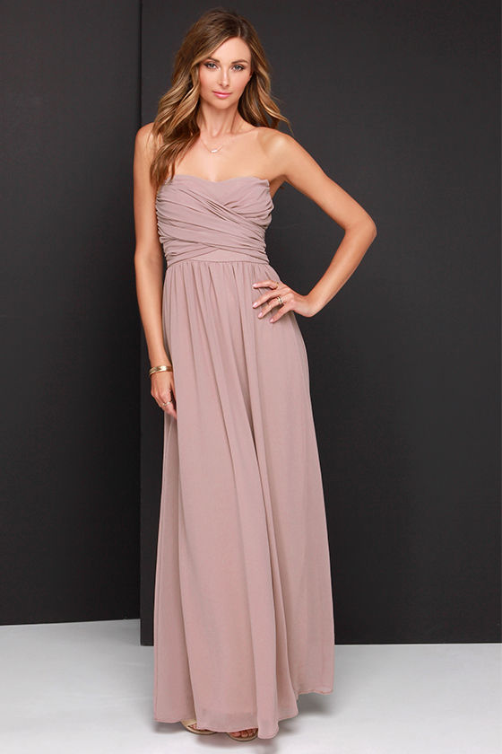 Lovely Taupe Dress - Strapless Dress - Maxi Dress - $68.00