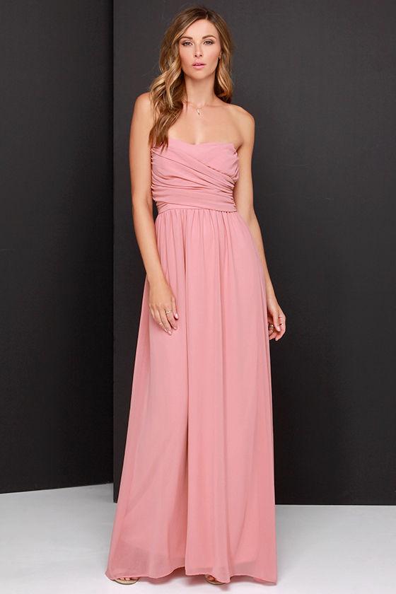 Lovely Dusty Rose Dress - Strapless Dress - Maxi Dress - $68.00