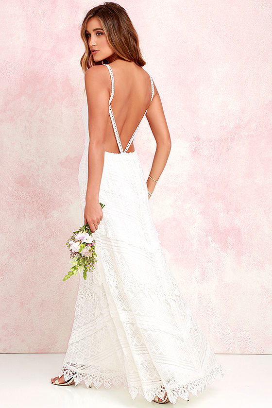 Lovely Ivory Dress - Lace Dress - Maxi Dress - Backless Dress - $74.00