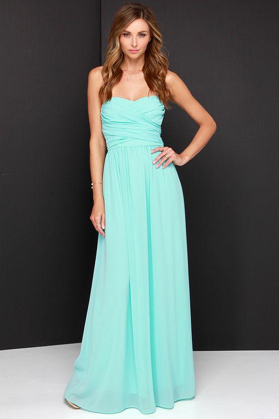 Lovely Aqua Dress - Strapless Dress - Maxi Dress - $68.00