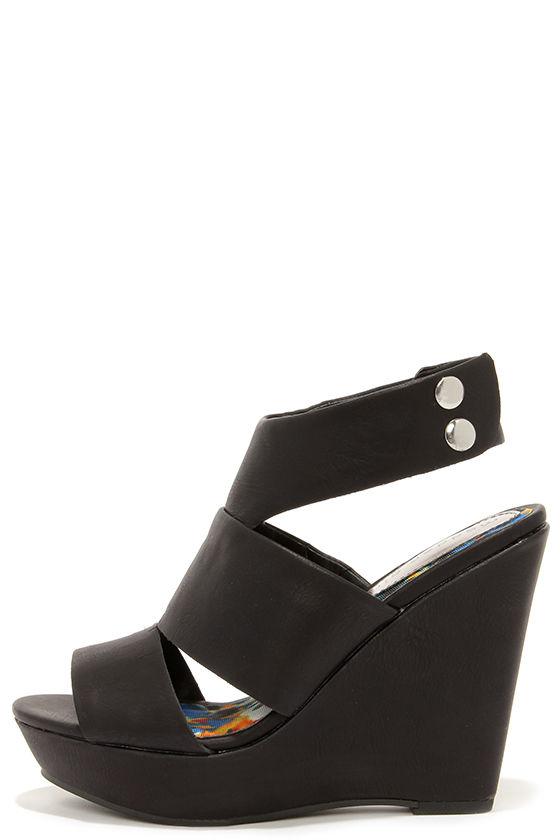 01064ad41a8d48 Cute Black Wedges - Wedge Sandals -  49.00
