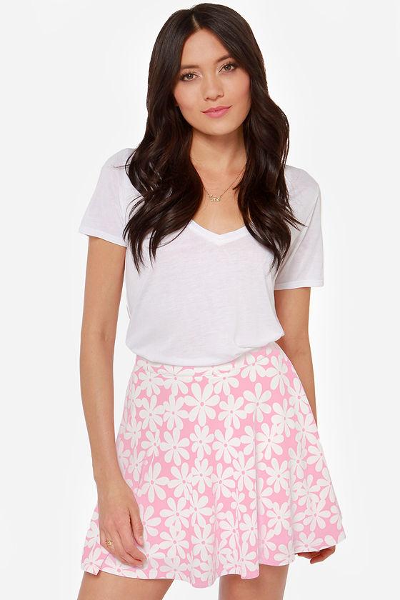 Cute pink skirt floral print skirt skater skirt 4200 true bud pink floral print skater skirt mightylinksfo