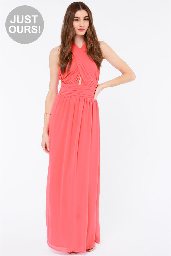 Coral pink chiffon dress