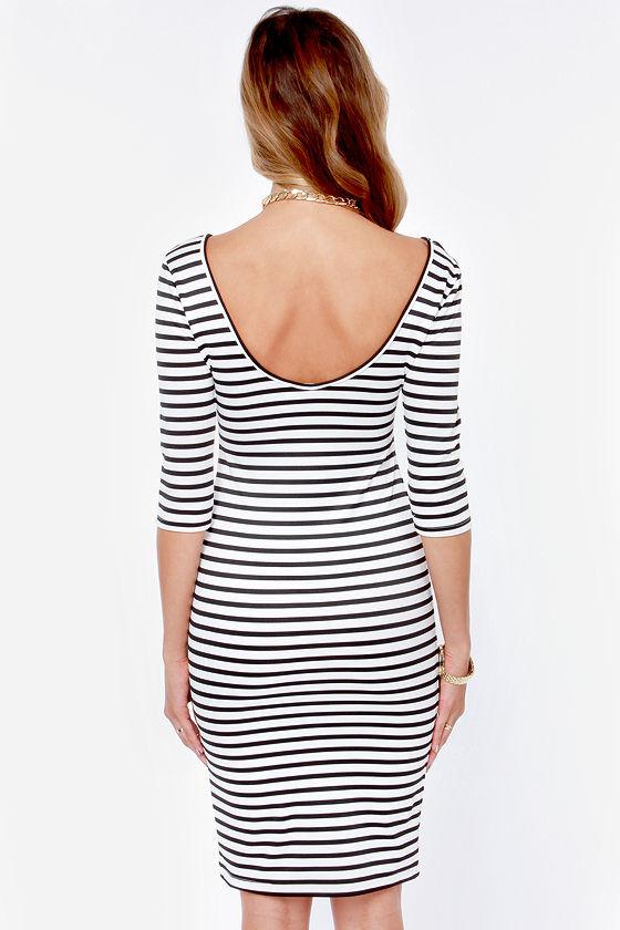 Black and white striped bodycon dress instagram jigsaw quality