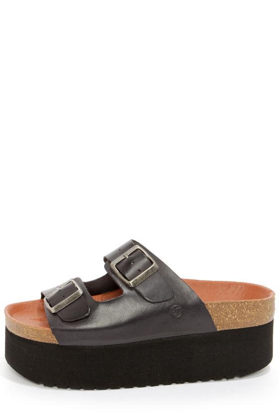 Cute Black Sandals Leather Sandals Platform Sandals