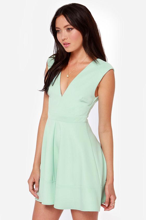Cute Blue Dress Skater Dress V Neck Dress Light Blue