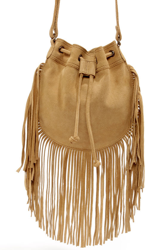 RVCA Piper Brown Suede Fringe Purse e99f40195c