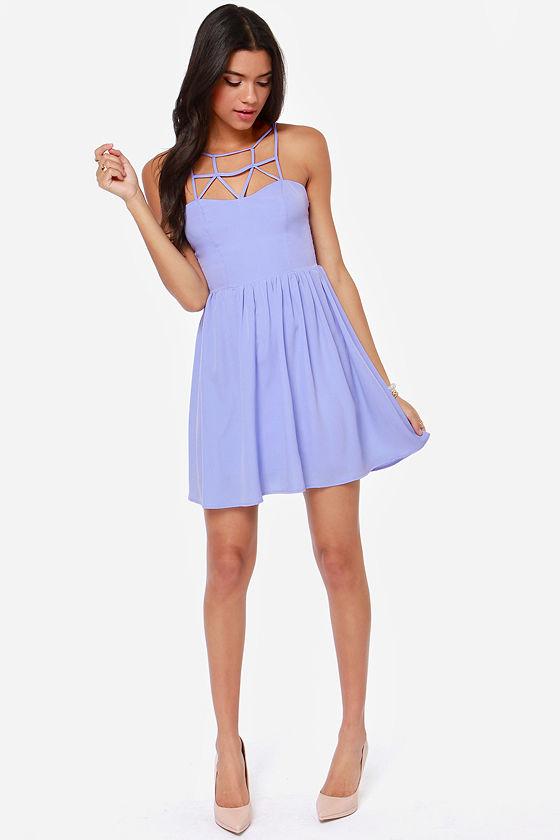 Cute Lavender Dress - Cage Dress - Skater Dress - Purple Dress - $49.00