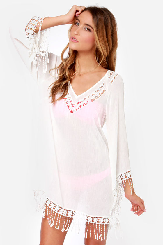 Cute Ivory Dress Ivory Cover Up Swim Cover Up 4900