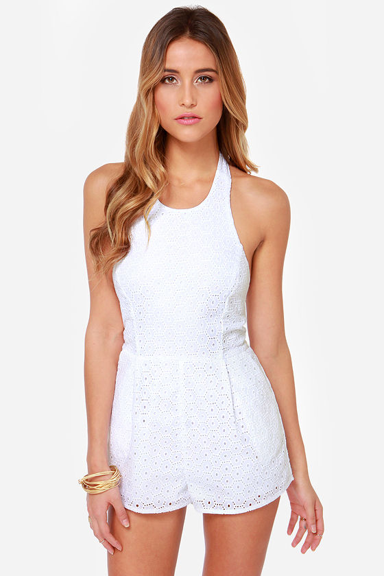 Mink Pink House Prairie White Lace Romper