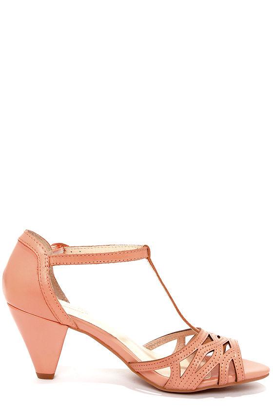 Chic Leather Heels - Peach Heels - Kitten Heels - Dress Sandals - $93.00