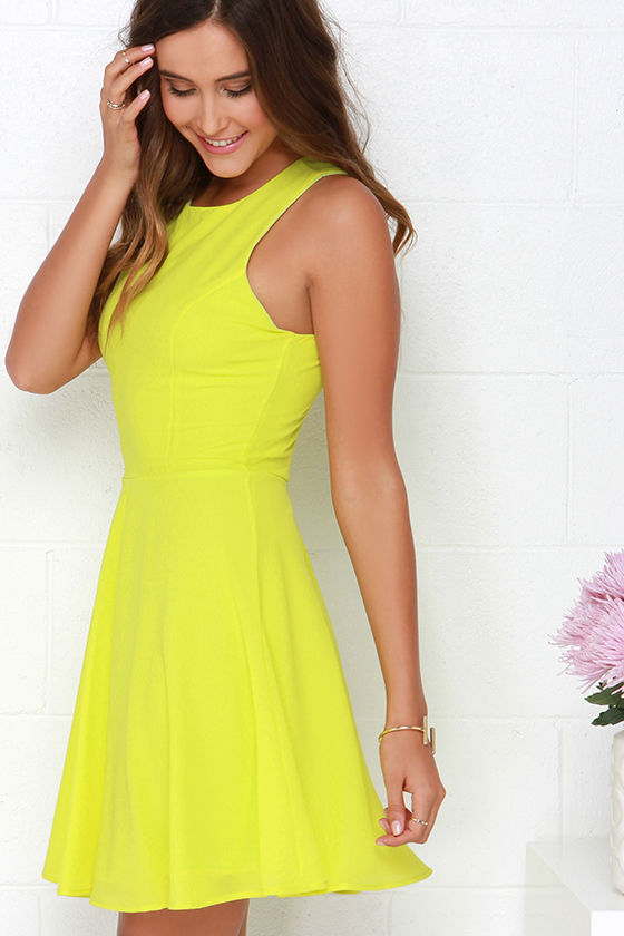 Pretty Chartreuse Dress Skater Dress Fit And Flare