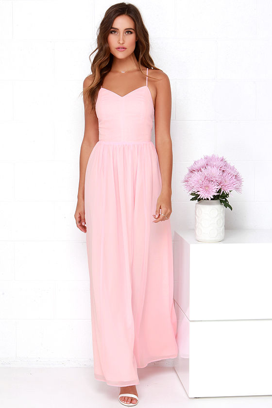 Lovely Pink Dress - Chiffon Dress - Pink Maxi Dress - $112.00