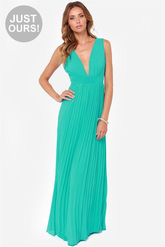Gorgeous Maxi Dress - Aqua Maxi Dress - Pleated Dress - Teal Maxi ...