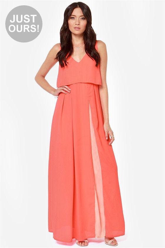 Cute Coral Dress Neon Coral Dress Maxi Dress Color Block Dress